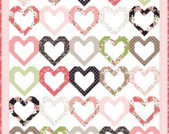 "Open Heart Quilt Pattern, LB146, by Lella Boutique, 67""x79"", Quilt blocks are 12"" Squares"