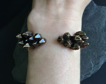 Bronze Torque Cuff - Bronze Cast Crystal Clusters - handmade in Austin Texas by Jamie Spinello