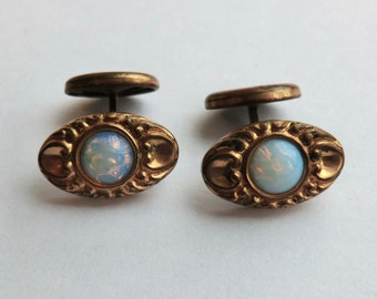 Victorian Oval Cufflinks Foil Glass Stones