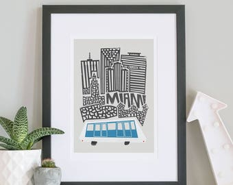 Miami City Print, Travel Poster, Florida Art, Architecture Gift, Transport Art, Mid Century Modern, Abstract Shapes, Blue And White