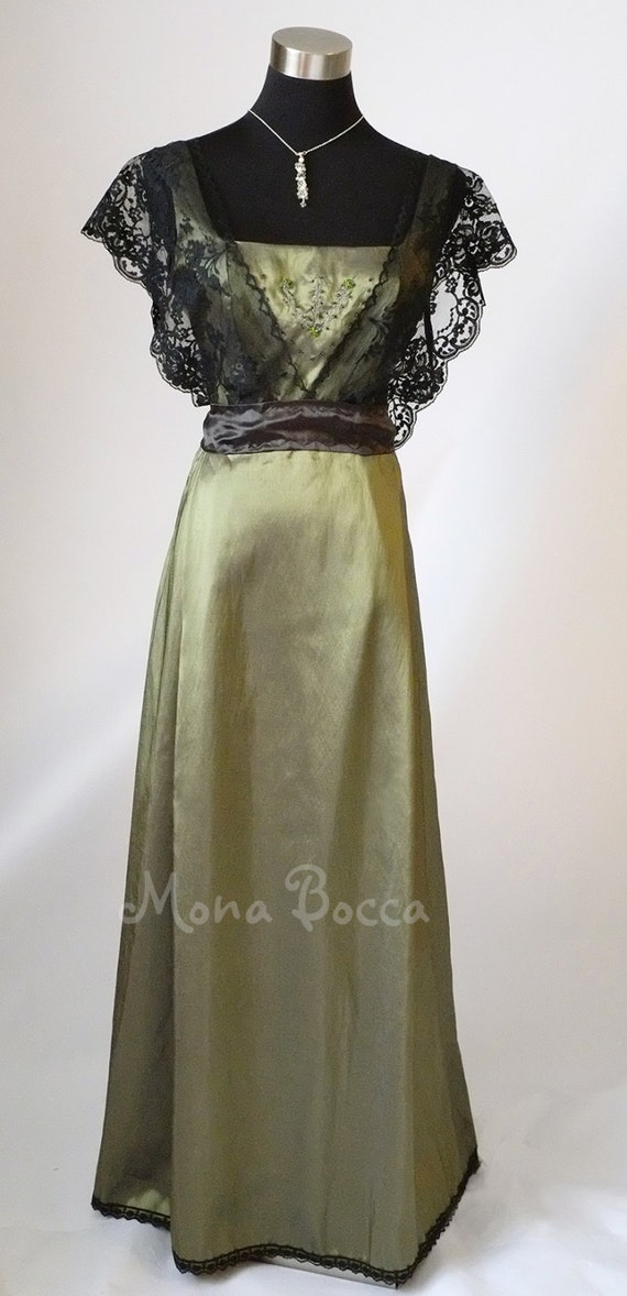 Edwardian Dress olive sage green Titanic dinner Downton Abbey vintage styled lace bridesmaids dress Treasured by many