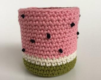 Kawaii watermelon crochet planter