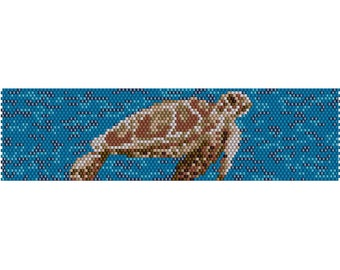 Sea Turtle Peyote Bead Pattern, Bracelet Cuff, Bookmark, Seed Beading Pattern Miyuki Delica Size 11 Beads - PDF Instant Download