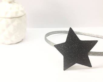 Black glitter star headband