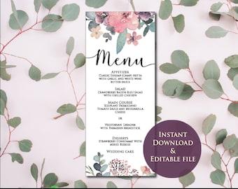 Pink Wedding Menu Template, Menu Template, Purple Wedding Menu, Editable Wedding Menu, Instant Download, Printable
