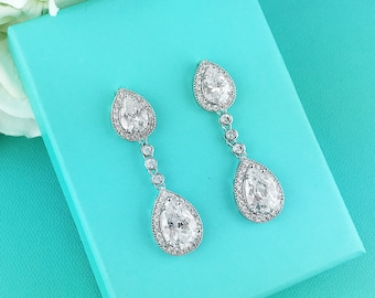 Wedding Bridal Earrings, Pear cubic zirconia CZ jewelry, wedding earrings, bridal jewelry, wedding earrings, bridesmaid jewelry, 266838002