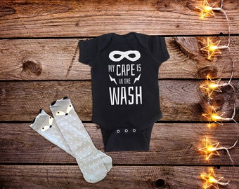 My Cape is in the Wash, Superhero Baby Clothes, Funny Baby One-piece, Funny Baby Clothes, Black Baby Clothes, Unique Baby Gift