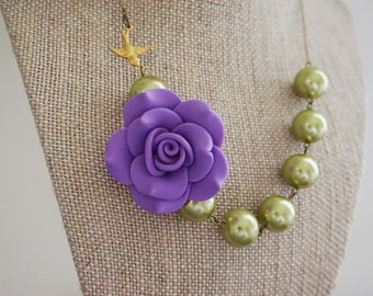 Bridesmaid Gift Bridesmaid Jewelry Statement Necklace Flower Necklace Purple Necklace Sage Necklace Bridesmaid Necklace Bib Necklace Gift