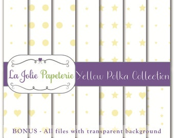 Yellow Polka Collection (Digital Paper) - Patterns for Scrapbooking, Invitation, Card, Planners, Baptism, Nursery, Birthday, Baby Shower