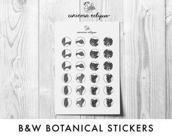 Black and White Botanical Planner Stickers || planner stickers, floral stickers, every day stickers, botanical stickers || unicorneclipse