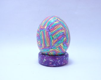 Handcrafted Colorful Mosaic Polymer Clay Covered Chicken Egg with Faux Purple Opal Pedestal