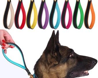 Short Leather Dog Leash Traffic Lead Brass Lock Medium Large Black Pink Red Green Aqua Blue