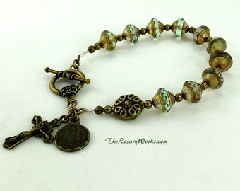 St Benedict Rosary Bracelet Chaplet Green Holy Spirit Miraculous Medal Bronze Bali Bead Bohemian Glass Vintage Style Single Decade Prayer