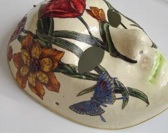 Multi-Colored Flower Paper Mache Mask / Venetian Mask / Butterflies / Orange / Yellow / Purple