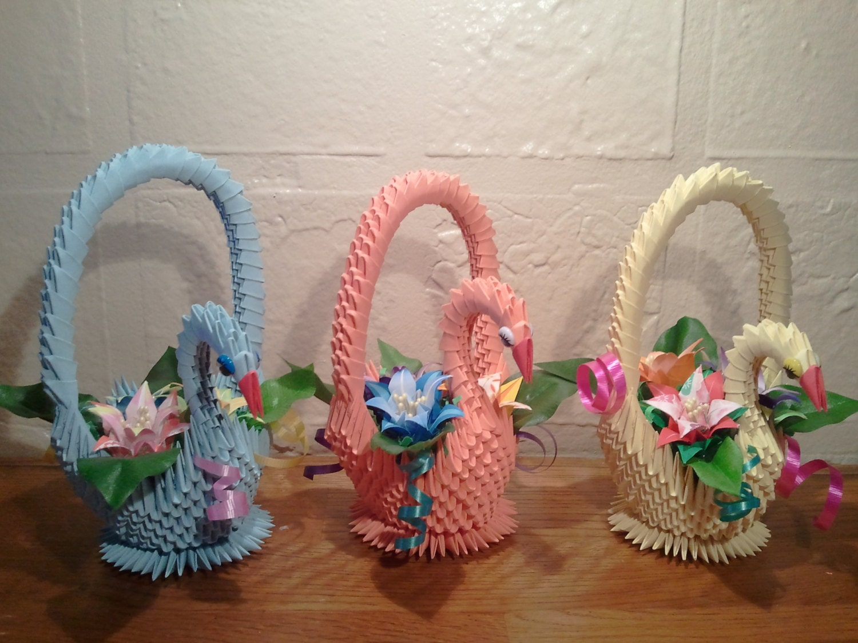 3d origami swan basket with flowers zoom jeuxipadfo Choice Image