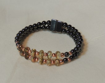 Crystals, Copper, and Magnetic Hematite Double Bracelet