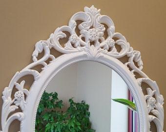 Baroque Mirror, Ornate Mirror, White Nursery Mirror, Large Wall Mirror, Shabby Chic Oval Mirror, Nursery Mirror, Bathroom Mirror,Paris decor