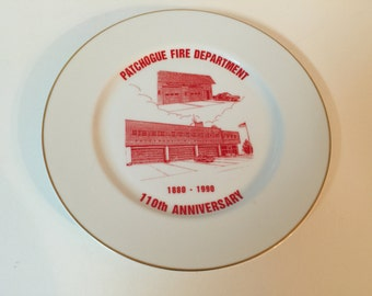 Patchogue Fire Department Anniversary 1880-1990 Plate