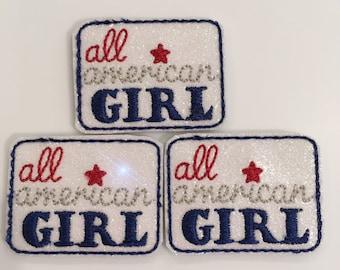 All American Girl Vinyl Glitter Feltie Set of 3