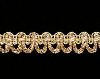 """643.2 Metallic gimp trim - """"Large Festoon"""" antique-gold - 5/8"""" (16mm), antique gold gimp, antique gold trim, metallic gold trim"""