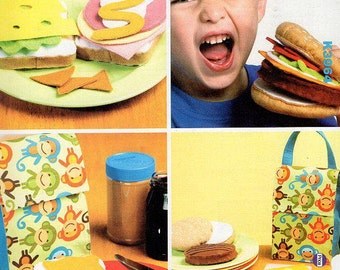 Free Us Ship Kwik Sew 3964 Craft Play Food Hamburger Sandwich Lunch Bag Uncut Out of Print 2012 Pretend Pre School play Sewing Pattern ff