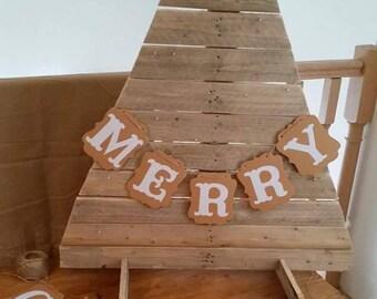 Merry Christmas, Merry Chritsmas kraft banner