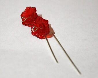 red flower threader earrings