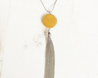 Yellow Wooden Disc Bead and Metal Tassel Necklace || Mixed Media Jewlery || Layering Necklaces || Canadian Seller