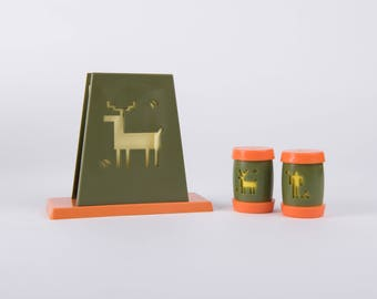 Retro Kitschy Napkin Holder and Salt and Pepper in Orange and Green