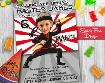 Ninja Birthday Party Invitation  - Personalized from your photo DIGITAL FILE