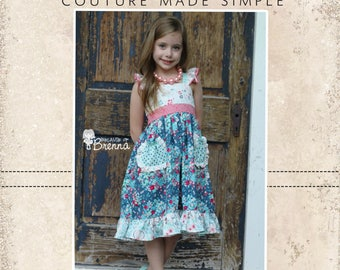 Dahlia's Double Flutter Pocket Top, Dress, and Maxi PDF Pattern Sizes 6-12m to 8 girls