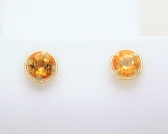 14k Gold 1.40ct Citrine Stud Earrings