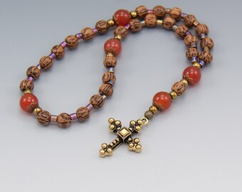 Anglican Prayer Beads Rosary - Palmwood with Carnelian Gemstones - Brown & Orange - Counting Prayer - Item # 776