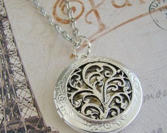 Round Silver Fligree Round Locket Valentines Day Wedding Bride Bridesmaid Mother Daughter Friend Wife Sister Gift Photo Picture - Hannah