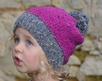 NEW In The Round instructions added! Easy KNITTING PATTERN Raspberry Tweed Slouchy