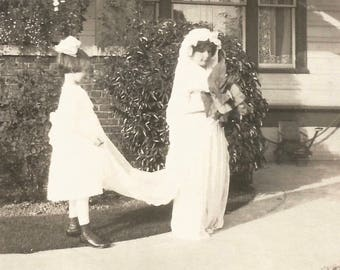 "Vintage Snapshot ""Junior Bridesmaid"" Wedding Gown Bride Found Vernacular Photo"