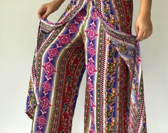 PK0003 Pink Boho Women's Open Leg Pants, amazing comfortable Open Leg Pants are made from lightweight cotton fabric
