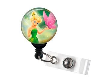 Tinkerbell Badge reel, ID Badge holder, retractable badge reel,fairy, Tink