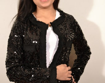 Sans Souci ,Sequin Top, Jacket,Small,black sequin jacket,Black,Unused with Factory Tag