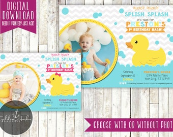 Rubber duck birthday invitations rubber ducky birthday invitation rubber duck invite photo printable diy filmwisefo Image collections