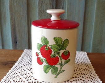 Strawberry ~ Vintage Strawberry Canister ~ Cookie Jar ~ Made In USA ~ Red And White ~