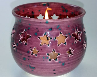 Pink or Mauve Candle Holder or Luminary Teal and Black Flecks and Star Cut-outs - Wheel Thrown Pottery with Blue and Pink Highlights