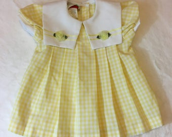 Vintage 80's Baby Girl's Yellow and White Checkered Pleated Dress Size 12 Months