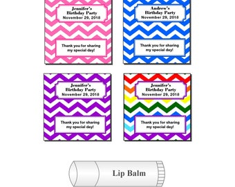 20 Personalized Birthday Party Chevron Lip Balm Favor Stickers Labels