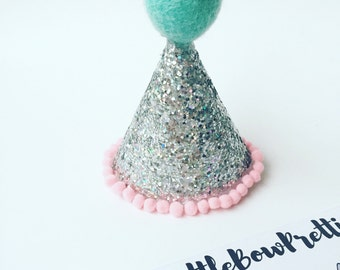 SILVER Mini Glitter Party Hat, Party Hat, silver hat, silver party, Mini hat, Birthday, prop, birthday, handmade, birthday, girl, boy