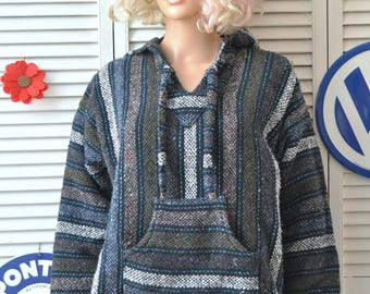 Vintage 80s 90s Baja Hoodie Made in Mexico Blue Gray Black Long Sleeve Pullover Front Pocket/Mens Womens Adult Teen Medium/Top Sweater Shirt