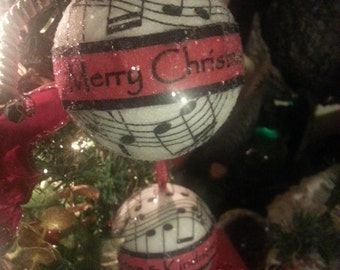 Christmas Ornament, Custom, Handmade, Iridescent, Shiny, Dated, Music Notes, Memorial