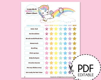 Unicorn Reward Chart Etsy
