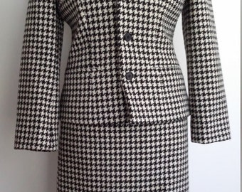 Houndstooth suit, M, wool suit, black white suit, winter suit, fall suit, designer suit, houndstooth jacket, houndstooth skirt