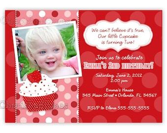 Sweet Strawberrry Photo Card Invitation (Digital file)